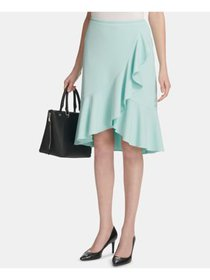 CALVIN KLEIN Womens Aqua Ruffled Wear To Work Skir