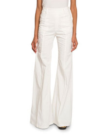 Chloe High-Waist Patch-Pocket Flare Jeans