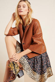 Anthropologie Hayden Embroidered Faux Leather Jack
