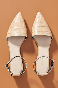 Anthropologie All Black Ankle Strap Flats