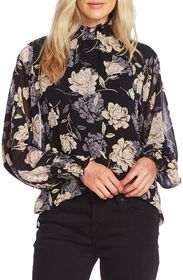 Vince Camuto Enchanted Floral High Neck Long Sleev