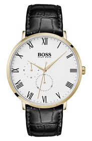 BOSS Men's William Embossed Leather Strap Watch