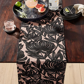 "Crate Barrel Chrysa 90"" Embroidered Table Runner"