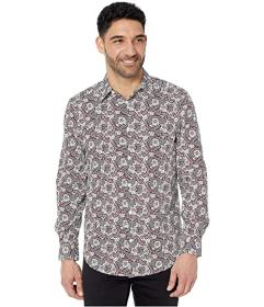 Perry Ellis Floral Paisley Print Stretch Long Slee