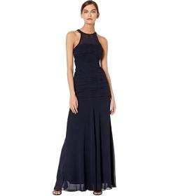 Halston Sleeveless High Neck Fitted Ruching Gown