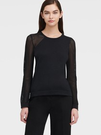 Donna Karan SWEATER WITH MESH SLEEVES