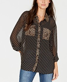 INC Dot and Leopard Print Button-Up Shirt, Created