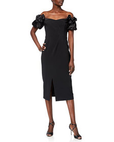 Marchesa Notte Off-the-Shoulder Satin Puff-Sleeve