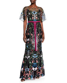 Marchesa Notte Cape-Sleeve Multicolor Sequin Embro