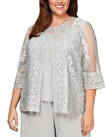 Plus Size Embroidered Jacket & Top Set