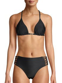 XOXO Women's Macrame Triangle Bikini Top And Hipst