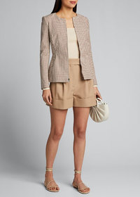 Theory Check Zip-Front Sculptured Jacket