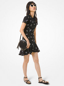 Michael Kors Floral Embroidered Crepe Flounce Dres