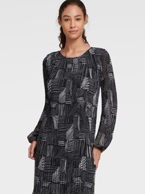 Donna Karan PLEATED CHECK LINES DRESS