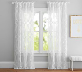 Pottery Barn Braided Ruffle Sheer Curtain
