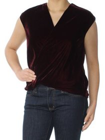 Ralph Lauren Womens Burgundy Wrap Top Petites Size