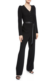 Elie Tahari Campbell Long-Sleeve Jumpsuit with Sas