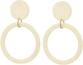 "Kenneth Jay Lane 2.5"" Ivory Circle Top w/ Gold Rin"