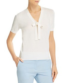 Theory - Elodie Tie-Neck Short-Sleeve Sweater