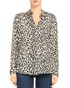 Theory - Leopard Print Silk Button-Up Shirt