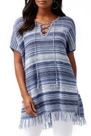 Tommy Bahama Stripe Lace-Up Linen Blend Cover-Up S