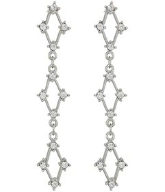 Kenneth Jay Lane Silver with Crystals Three Diamon