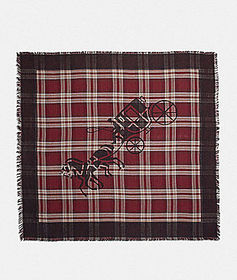 Coach horse and carriage plaid print oversized squ