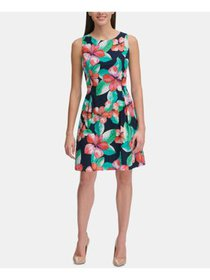 TOMMY HILFIGER Womens Navy Floral Sleeveless Jewel