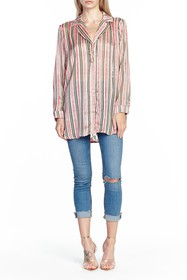 ARATTA Era Resort Striped Mixed Media Blouse