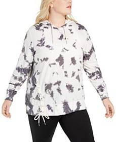 Plus Size Tie-Dyed Side-Lace Hoodie, Created for M