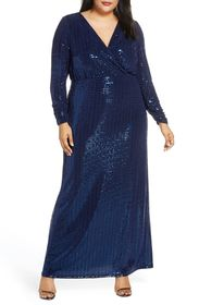 Vince Camuto Long Sleeve Blouson Gown