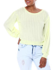 Almost Famous pullover w/blouson sleeves