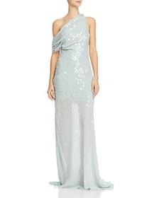 Cushnie - One-Shoulder Sheer Gown with Iridescent