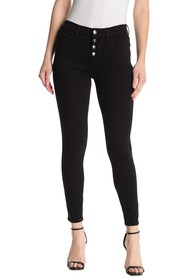 FRAME Button Front High Waist Skinny Jeans