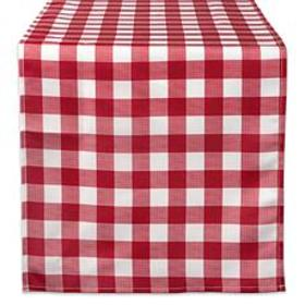 """Design Imports 14"""" x 108"""" Red Check Outdoor Table"""