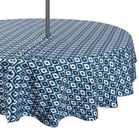 """Design Imports 60"""" IKAT Round Outdoor Tablecloth w"""