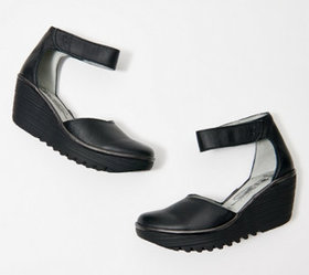 """As Is"" FLY London Leather Ankle Strap Wedges- Yan"