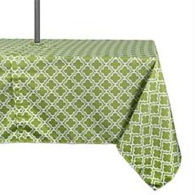 Design Imports Green Lattice Outdoor Tablecloth w/