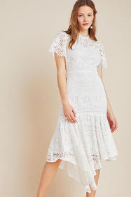 Anthropologie Shoshanna Asymmetrical Lace Midi Dre