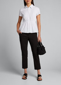 Theory Cinched-Waist Short-Sleeve Button-Down Shir