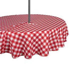 "Design Imports 60"" Red Check Round Outdoor Tablecl"