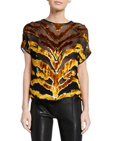 Adam Lippes Tiger-Striped Burnout Velvet Dolman-Sl