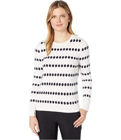 Vince Camuto Long Sleeve Dot Jacquard Crew Neck Sw