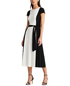 Belted Two-Tone Jersey Dress