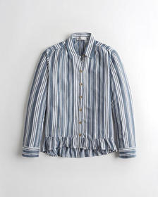 Hollister Ruffle-Hem Shirt, BLUE STRIPE