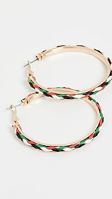 Kenneth Jay Lane Gold Multicolor Leather Hoop Earr