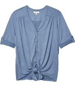 MAXSTUDIO Crinkled Jersey Button Front Top