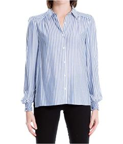 MAXSTUDIO Button Front Smocked Sleeve Blouse