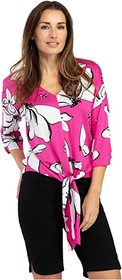 Tribal 3/4 Sleeve Front Tie Blouse