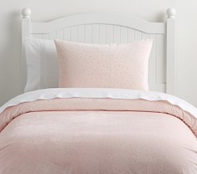 Pottery Barn Chamois Metallic Dot Duvet Cover